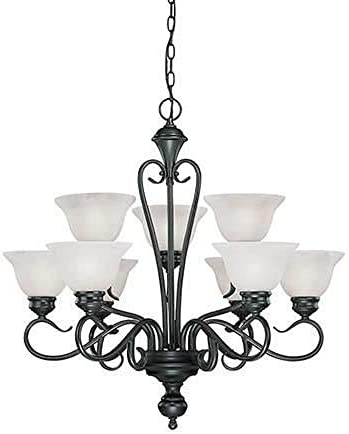 Millennium 679-BK Nine Light Up Chandelier with Black Finish