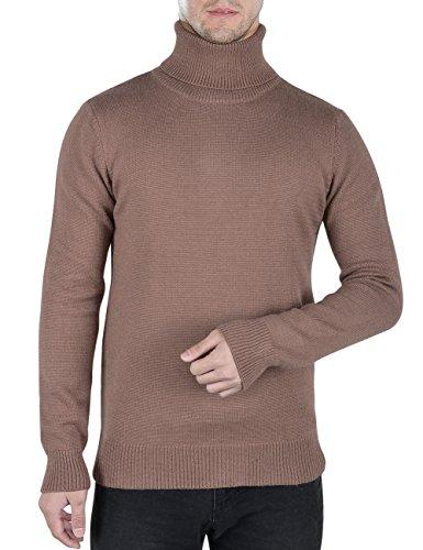 Basic Essentials Men Khaki (Rocorose Men's Long Sleeve Essential Turtleneck Sweater Pullover Khaki XS)