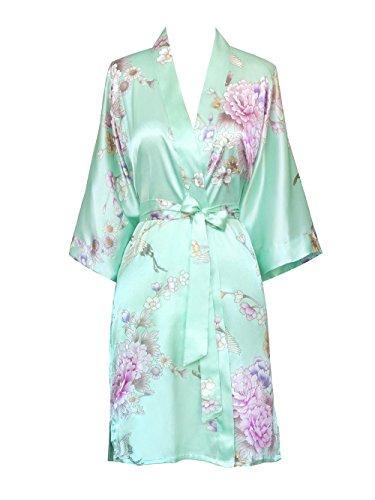 (Old Shanghai Women's Kimono Short Robe - Chrysanthemum & Crane - Aqua O/S)