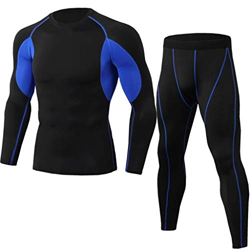 2Pcs Men's Tracksuit Suit Elastic Fitness Sports Tight Long Sleeve Fast Drying Tops+Long Pants Beautyfine Blue