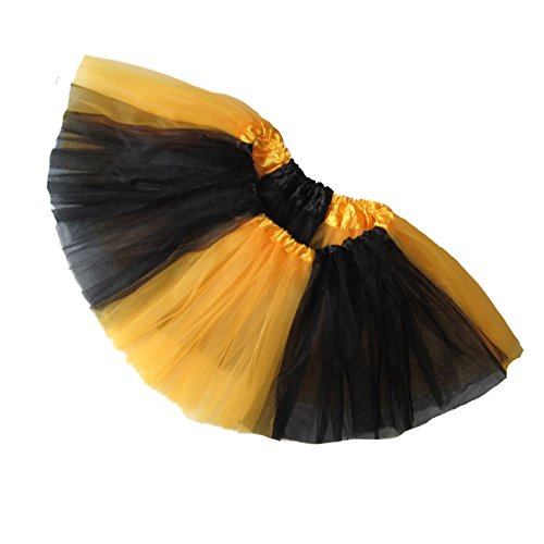 Southern Wrag Company BIG GIRLS TEAM SPIRIT Tutu Sizes S-XXL (S:TUTU WAIST 22-42, BLACK GOLD TUTU)