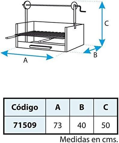 IMEX EL ZORRO 71509 71509-Cajón Barbacoa Elevador, Parrilla INOX, 63 x 75 x 42 cm, Color Negro, 63x75x42 cm