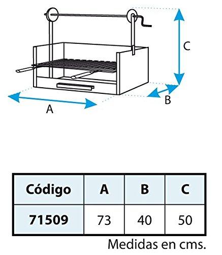 IMEX EL ZORRO 71509 71509-Cajón Barbacoa Elevador, Parrilla INOX, 63 x 75 x 42 cm, Color, Negro, 63x75x42 cm