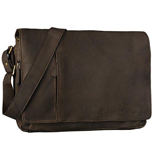 STILORD Vintage Bolso de piel Bolso Bandolera hombres para notebooks 15.6'' Borsa de cuero auténtico de búfalo de color marrón oscuro