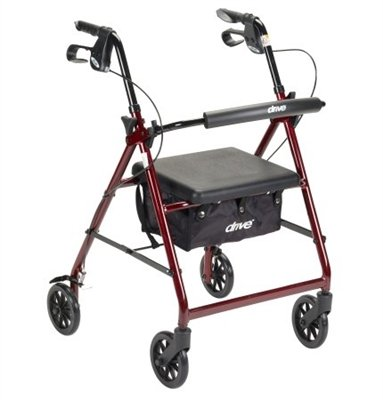 4 Wheel Rollator, Lightweight Folding Red Aluminum Frame, 6'' Caster Wheels, Adjustable 32'' to 37'' by McKesson