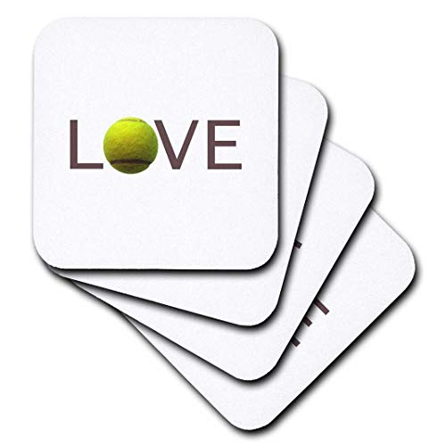 Tennis Coaster - 3dRose Love Text with Green Tennis Ball for O. Sport Player Playing Hobby - Soft Coasters, Set of 4 (CST_180488_1)