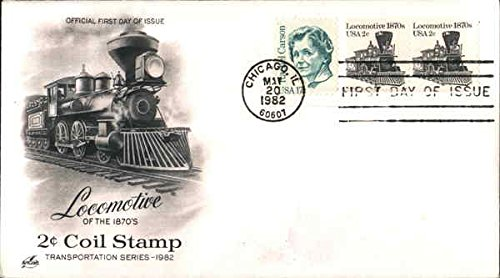 1982 Locomotives - Locomotive of the 1870's 2c Coil Stamp - Transportation Series 1982 Block of Stamps Original First Day Cover