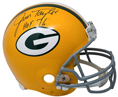 Jim Taylor Packers - Jim Taylor Signed Green Bay Packers Full Size Authentic Helmet HOF 76 Fanatics
