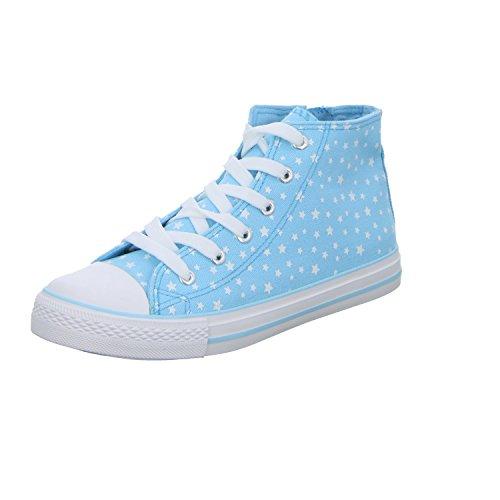 Sneakers KEK00817-B Mädchen Leinen Stiefelette Blau (Blau)