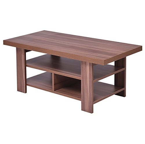 Wooden Coffee Table With 2 Tier Storage Shelves Rectangle Modern Living Room Furniture Home Décor Perfect For Placing TV Remotes Books Magazines Photo - In Macy's Beach Manhattan