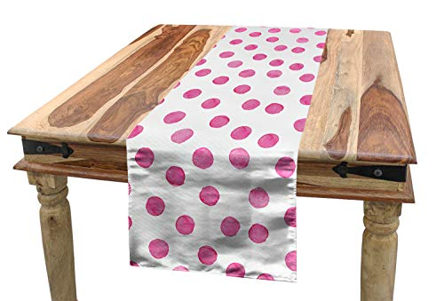 Lunarable Polka Dot Table Runner, Sugar Pink Color Irregular Polka Dots Formed by Watercolor Paint Brush, Dining Room Kitchen Rectangular Runner, 16 W X 90 L Inches, Hot Pink and White -