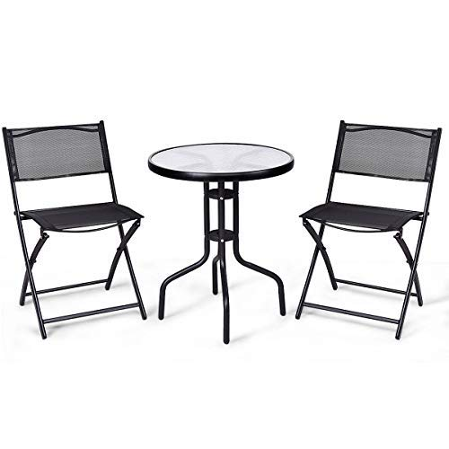 Cheap  Giantex 3 Pcs Bistro Set Garden Backyard Round Table Folding Chairs, with..
