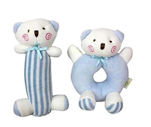 Blue Bear Plush Rattle Set for 0-36 Months Infant Development Grasp Ring and Stick Toy; Newborn Stuffed Animal Hand Rattle Dolls Perfect for Shower Gift and Crib Toys