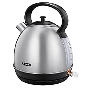 Aicok 709202828916 304 Stainless Steel Electric Kettle 1500W 1.7 Liter, BPA-Free Cooktop, Silver