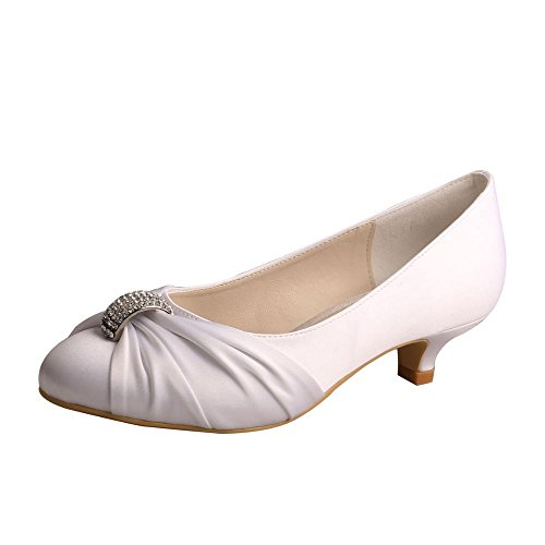 Wedopus MW933 Women's Closed Toe Satin Party Evening Pumps Low Heel Wedding Bridal Shoes Size 6 White
