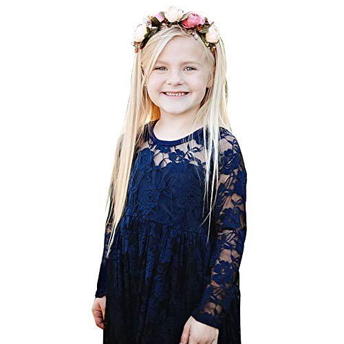 Carat Fancy Ivory White Lace Boho Rustic Flower Girl Dress 2-12 Year Old (Size 8,E-Navy Blue) ()