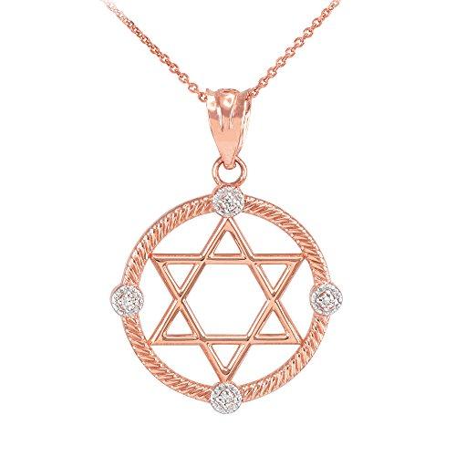 Collier Femme Pendentif 10 Ct Or Rose Côtelé Cercle Étoile De David avec Diamant (Livré avec une 45cm Chaîne)