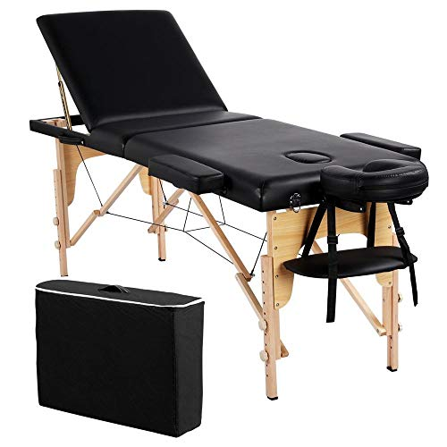 Topeakmart 84inch L Portable Massage Table 3 Sections Folding Spa Facial Bed with Carry Case Black