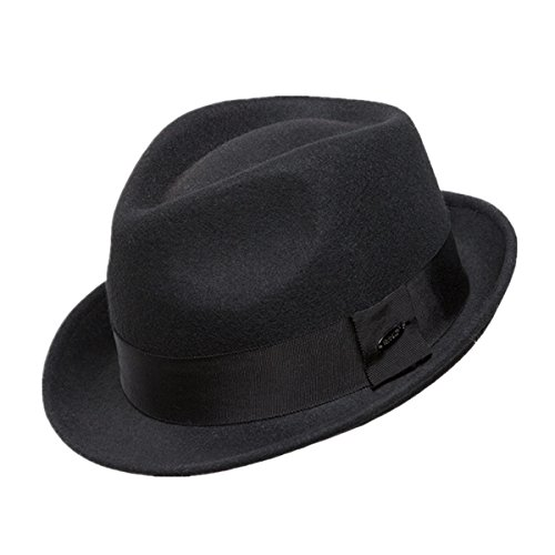Home Prefer Men's Wool Felt Winter Hat Short Brim Fedora Hat Black Large (Felt Fedora Hats)