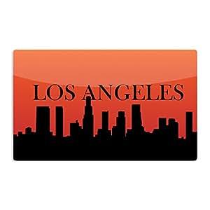 "KESS InHouse KESS Original ""Los Angeles"" Orange Black Artistic Aluminum Magnet, 2"" by 3"", Multicolor"