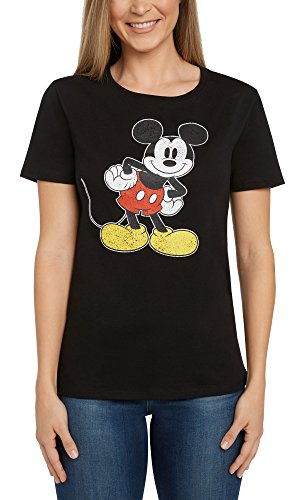Disney Womens Fitted T-Shirt Mickey Mouse Distressed Graphic Print Black (XL)
