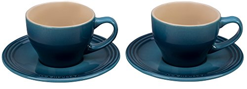 Le Creuset PG8000-056M Stoneware Cappuccino Cups and Saucers, Set of 2 , Marine