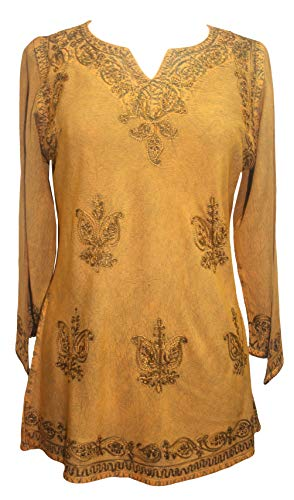 Agan Traders 127 B Medieval Renaissance Vintage Gypsy Rayon Top Blouse ~ India (Medium, Old Gold)]()