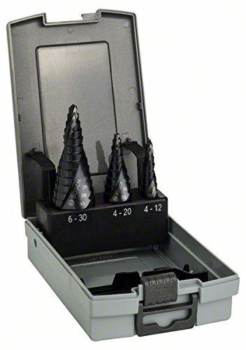 Bosch Pro 3tlg. Stufenbohrer-Set HSS-AlTiN mit 3-Flä chen-Schaft 2608588069