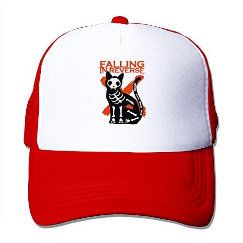 Falling In Reverse Skull Cat Graphic Print Mesh Match Snapback