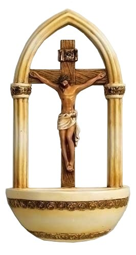 Jesus Water - Roman Crucifix Jesus Florentine Style Holy Water Font