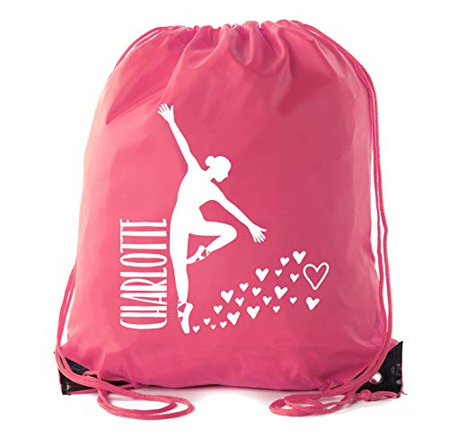 Custom Dance Bags, Ballet Drawstring Backpacks, Personalized Dance Backpacks for Girls - Pink CE2500Dance S5