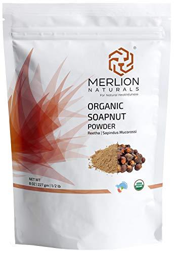 Organic Soapnut Powder by MERLION NATURALS (Reetha Powder | Sapindus Mukorossi) - 227 g / 8 OZ / 1/2 lb - USDA NOP Certified 100% Organic | Excellent Hair Conditioner