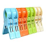 ilyever Pack of 8 Large Bright Colour Plastic Beach Towel Pegs Clips for Sunbed