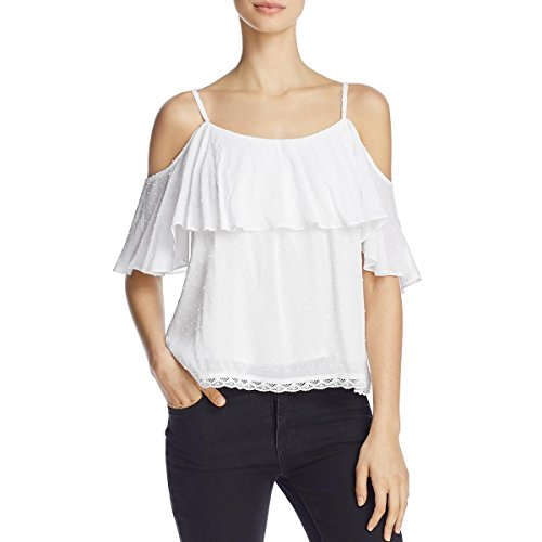 Beltaine Womens Hankie Swiss Dot Flounce Tank Top White S