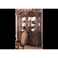 Saint Charles Collection 100134 64 China Cabinet with 2 Glass Doors 2 Wood Doors 2 Glass Shelves 6 Drawers Poplar Wood and Veneer Materials in Brown Color