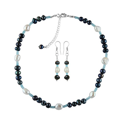Pearlz Ocean Fresh Water Pearl and Apatite Necklace Set (Necklace Apatite Set)