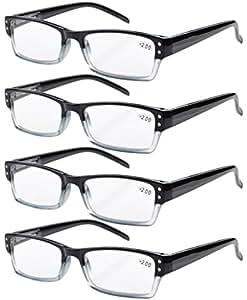 Eyekepper 4-pack Spring Hinges Rectangular Reading Glasses Black +2.25