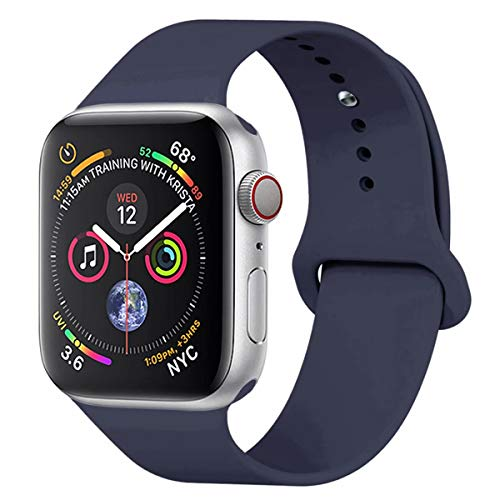 YANCH Compatible with for Apple Watch Band 38mm 40mm, Soft Silicone Sport Band Replacement Wrist Strap Compatible with for iWatch Nike+,Sport,Edition,S/M,Midnight Blue