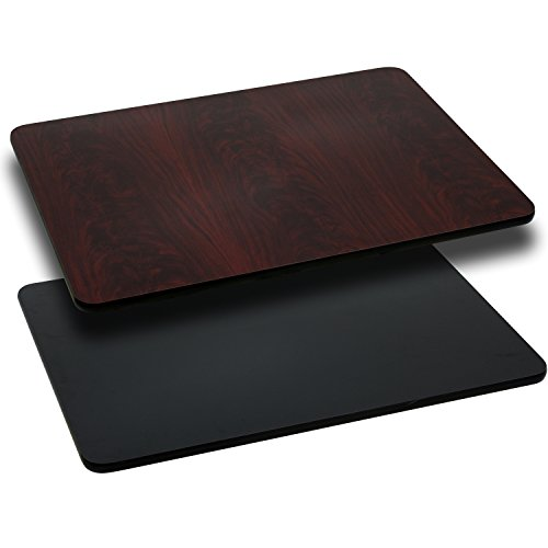 Flash Furniture 30'' x 60'' Rectangular Table Top with Black or Mahogany Reversible Laminate - Laminate Desk Black