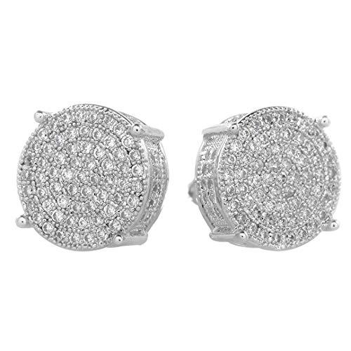 Niv's Bling – 18K Silver Plated CZ Earrings – Iced Out Round Studs – Hip Hop Earrings For Men or Women