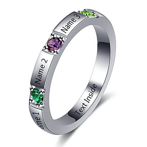 Personalized Stackable Mother Name Ring DIY 3 Simulated Birthstone Engagement Promise Ring for Her
