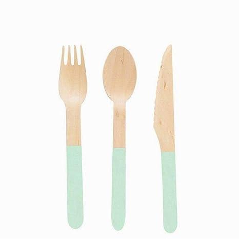 Flyes Juego de 8 cucharas Desechables de Madera para Cubiertos y Tenedores, para Fiestas,