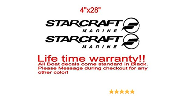 PAIR OF 20 inch long STARCRAFT BOAT HULL DECALS MARINE GRADE YOUR COLOR CHOICE