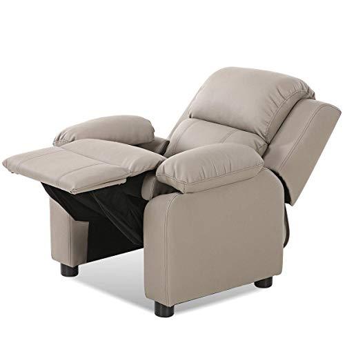 Honey Kids Storage Wooden (HONEY JOY Kids Recliner Sofa, Deluxe Padded Armchair Headrest with Storage Arms (Gray))