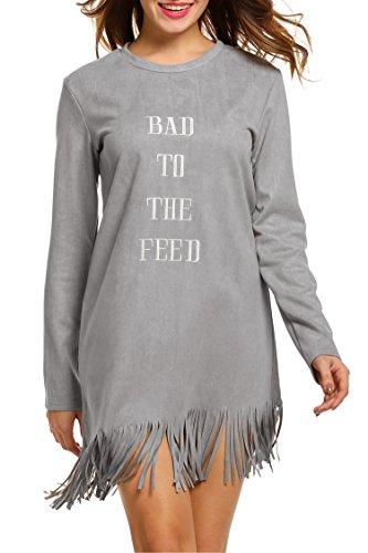 SE MIU Women Fashion Faux Suede Long Sleeve Letter Tassel Shift - Suede Miu Miu