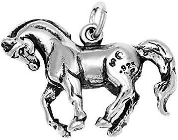 Raposa Elegance Sterling Silver 3D Dressage Horse Charm on a 16 Snake Chain Necklace