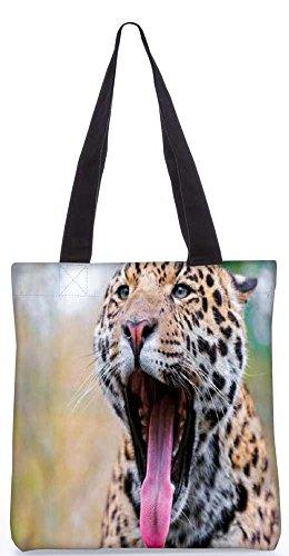 """Snoogg Leopard - Einkaufstasche 13,5 X 15 In """"Shopping - Dienstprogramm Tragetasche Aus Polyester Canvas"""