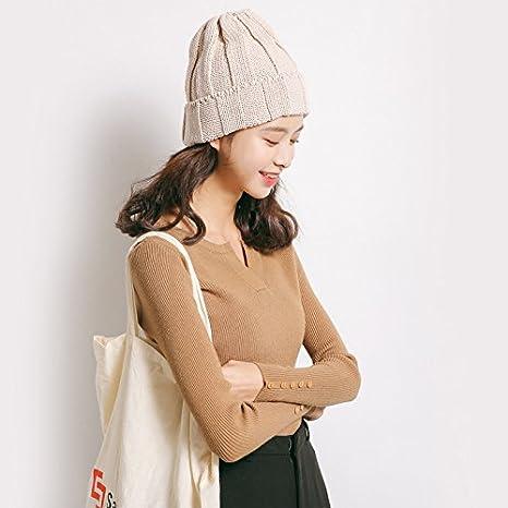 316772df41b4 dnhuv Un Maglione a v al Collo e Camicia Sono Slim Maglietta Maniche Lunghe  Stretta Maglione Femminile
