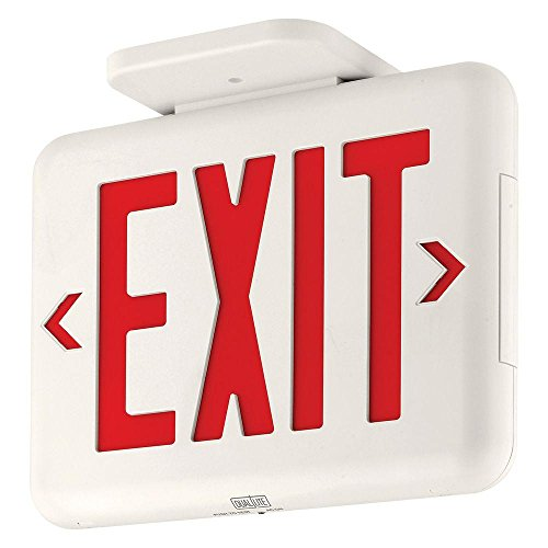 (Dual-Lite EVEURWEI LED Exit Sign, Red Letters w/Spectron - White)