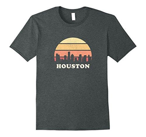 Mens Houston TX T Shirt Vintage Sunset Skyline Retro Tee Design 3XL Dark - Houston Tx Sun Shop